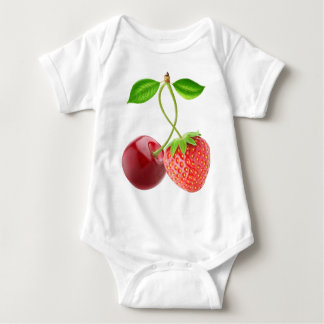 Cherry and strawberry together baby bodysuit