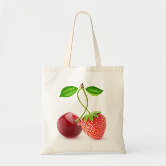 Cherry and strawberry together tote bag