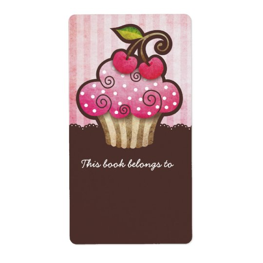 Cherry Berry Cupcake Bookplates Labels