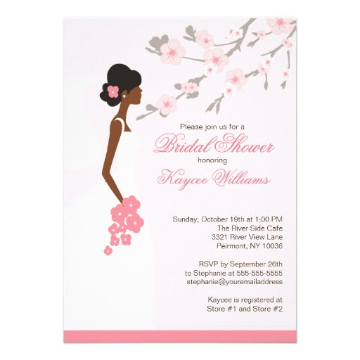 Cherry Blossom African American Bridal Shower Card