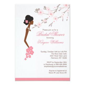 "Cherry Blossom African American Bridal Shower 5"" X 7"" Invitation Card"