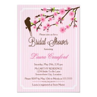 Cherry Blossom and Bird Bridal Shower Invitation