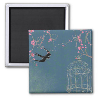 Cherry blossom and birdcage square magnet