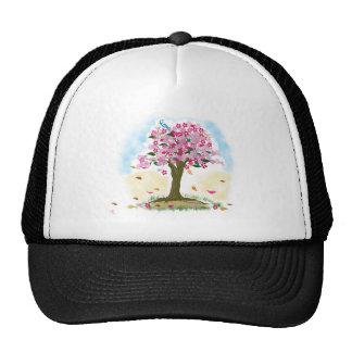 cherry blossom and blue bird cap