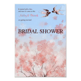 Cherry Blossom and Floral Swallows  Bridal Shower  9 Cm X 13 Cm Invitation Card