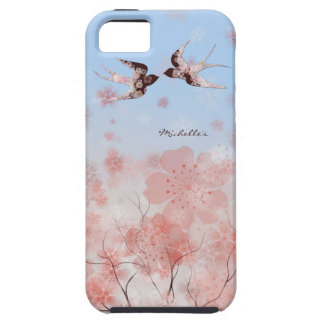 Cherry Blossom and Floral Swallows iPhone Case
