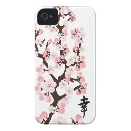 Cherry Blossom and Kanji iPhone 4/4S ID Case-Mate iPhone 4 Cases