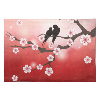 Cherry Blossom and Love Birds American MoJo Placem Placemat