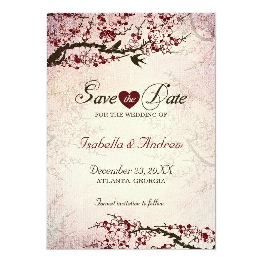 Cherry Blossom and Love Birds Save The Date 2 Card