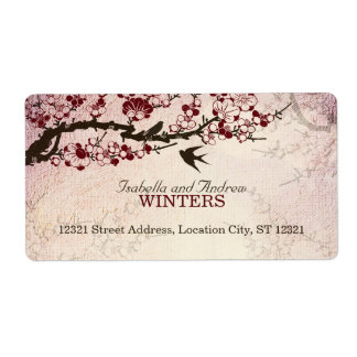 Cherry Blossom and Love Birds Shipping Label