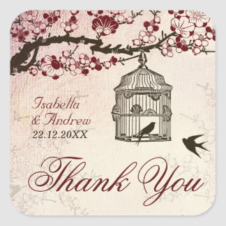 Cherry Blossom and Love Birds Square Sticker