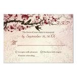 Cherry Blossom and love birds wedding RSVP 9 Cm X 13 Cm Invitation Card