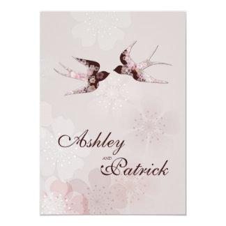 Cherry Blossom and Love Swallows Wedding 13 Cm X 18 Cm Invitation Card