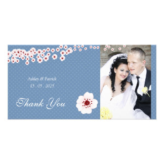 Cherry Blossom and Polka Dots Thank You Photo Card