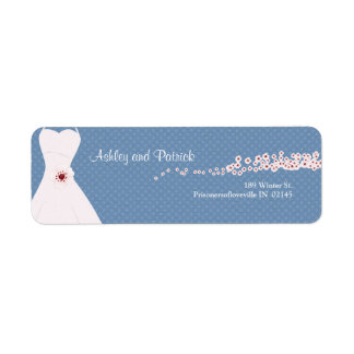 Cherry Blossom and Wedding Dress on Polka Dots Return Address Label