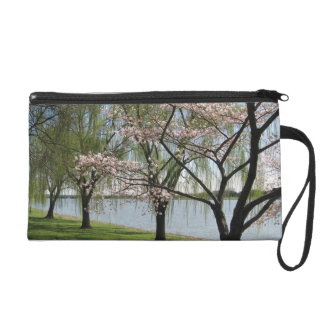 Cherry Blossom and Willow Tree Wristlet Purse