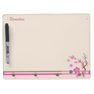 Cherry Blossom Art Dry Erase Board With Key Ring Holder