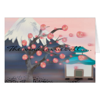 Cherry blossom asian mountain view greeting card