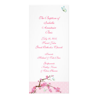 Cherry Blossom Baptismal Program 1/5 Rack Card Template
