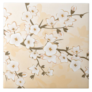 Cherry Blossom Beige Cream Floral Asia Large Square Tile