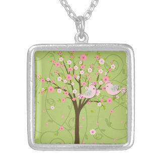 Cherry Blossom Birds Necklace