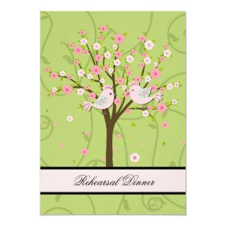 Cherry Blossom Birds Rehearsal Dinner Invitation