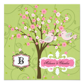 Cherry Blossom Birds Square Wedding Invitation
