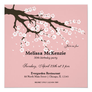 Cherry Blossom birthday party 13 Cm X 13 Cm Square Invitation Card