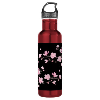 Cherry Blossom - Black 710 Ml Water Bottle