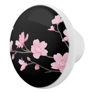 Cherry Blossom - Black Ceramic Knob