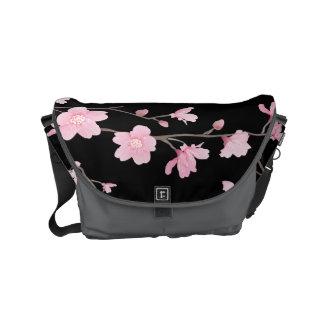 Cherry Blossom - Black Commuter Bag