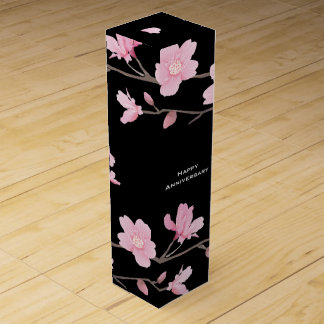 Cherry Blossom-Black-Happy Anniversary Wine Box