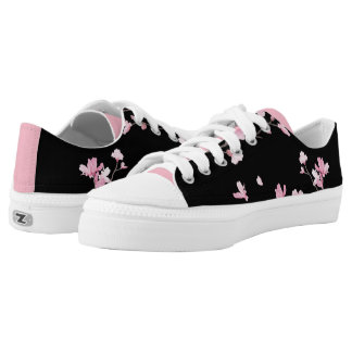 Cherry Blossom - Black Low Tops