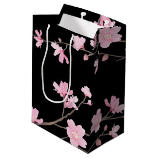 Cherry Blossom - Black Medium Gift Bag