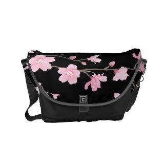Cherry Blossom - Black Messenger Bag