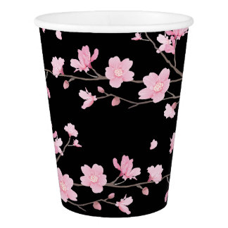 Cherry Blossom - Black Paper Cup