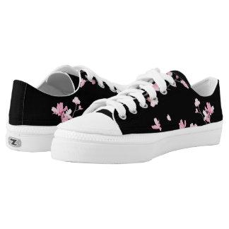 Cherry Blossom - Black Printed Shoes