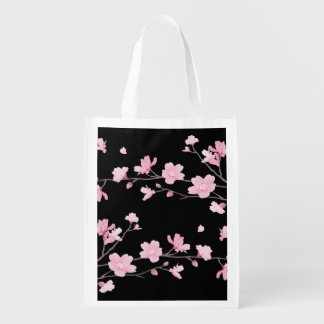 Cherry Blossom - Black Reusable Grocery Bag