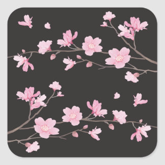 Cherry Blossom - Black Square Sticker