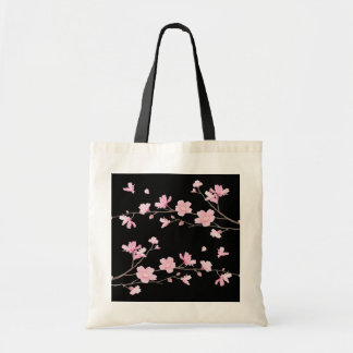 Cherry Blossom - Black Tote Bag