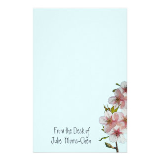 Cherry Blossom Blue Stationery Paper