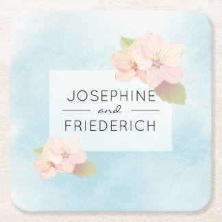 Cherry Blossom Blue Watercolor Wedding Coaster