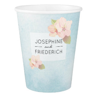 Cherry Blossom Blue Watercolor Wedding Paper Cup