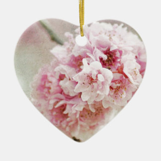 Cherry Blossom Botanical Ceramic Heart Decoration