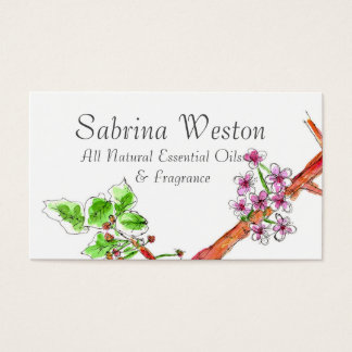 Cherry Blossom Botanical Drawing Business Card