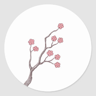 Cherry Blossom branch Classic Round Sticker