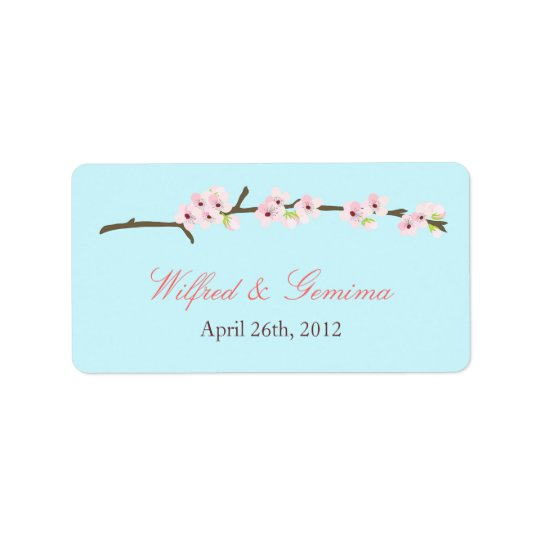 Cherry Blossom Branch Label (Blue)