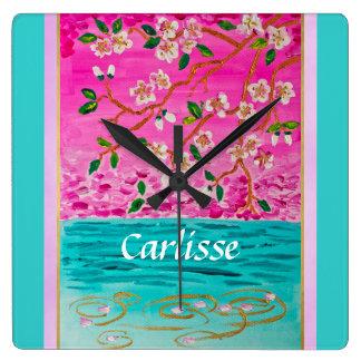 Cherry Blossom Branch Sakura Water Ripple Painting Wall Clock