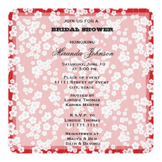 Cherry Blossom Bridal Shower 13 Cm X 13 Cm Square Invitation Card