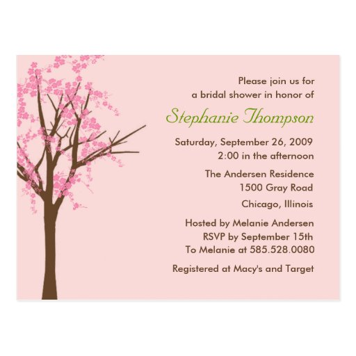Cherry Blossom Bridal Shower Invitation Post Cards